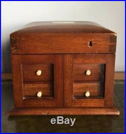 Antique 19th Century Victorian Wooden Mahogany Jewellery Box Or Cabinet