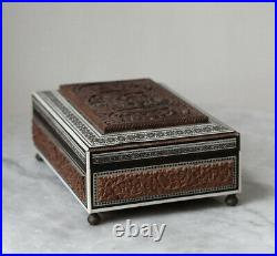 Antique 19th century Anglo Indian Sadeli inlay wooden jewelry box