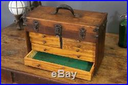Antique 7 Drawer Vintage Machinist Wood Wooden Oak Tool Box & Mirror Jewelry etc