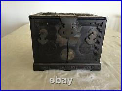 Antique Asian Carved Wooden Jewelry Box with Mirror