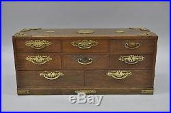 Antique Asian Oriental Jewelry Box Chest Cabinet Wood & Brass Mount 8 Drawers