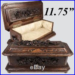 Antique Black Forest 12 Glove, Document, Jewelry Box, Casket with Flowers, Key