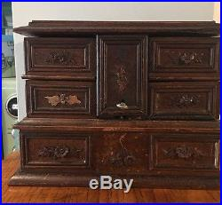 Antique Black Forest 3 Tier Hand carved Jewellery Box 5 Compartments Lock & Key