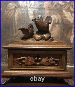 Antique Black Forest Hand Carved Wooden Jewellery Box Birds German Trinket