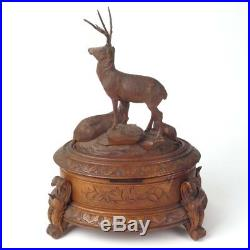 Antique Black Forest jewelry box carved wood deer German