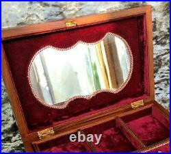 Antique Brass Inlay Red Velvet Fitted Interior Rosewood Wooden Jewellery Box