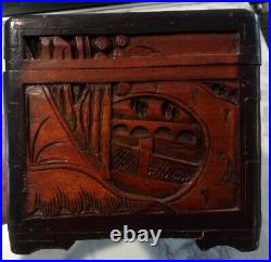 Antique Carved Wooden Camphor Chest Box Trinket Jewelry Chinese Ornate pair x2