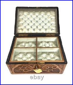 Antique Carved Wooden Ladies Jewellery Box / Sewing Chest / Key & Lock