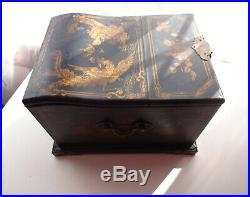 Antique Chinese Hand Made Wooden Jewelry Lacquer Box Chest Large Cabinet Mirror