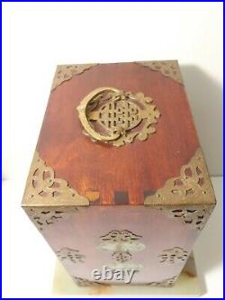 Antique Chinese Jewelry Wooden Box with 8 Jade Inserts