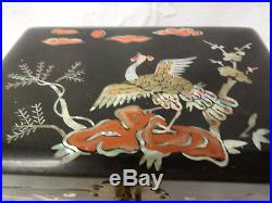 Antique Chinese Lacquer Wooden Wood Box Jewelry Mother Of Pearls Ornate RARE