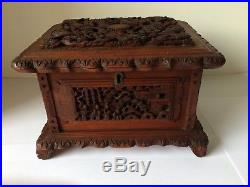 Antique Chinese Wooden Carved Dragon Jewelry Box Casket