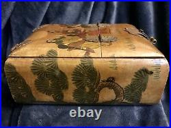 Antique Chinese Wooden Lacquered Jewelry Box Mirror Drawer Painted Scene Brass