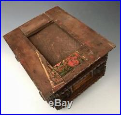Antique Chip Carved Wood Cigar Tramp Folk Art Jewelry Sewing Trinket Box, c. 1900