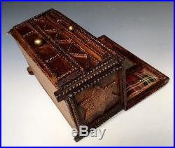 Antique Chip Carved Wood Cigar Tramp Folk Art Jewelry Sewing Trinket Box, c. 1915