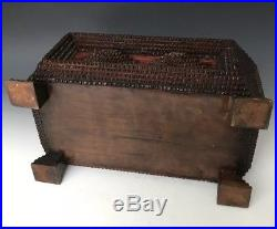 Antique Chip Carved Wooden Folk Tramp Art Jewelry Sewing Box with Notions, c. 1900
