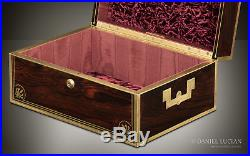 Antique Document Jewellery Box in Rosewood with Bramah Lock, Attributed to Edwards