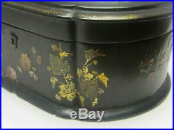 Antique English Black Laquered Oval Jewelry Keepsake Wooden Box