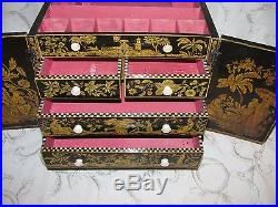 Antique English Regency Penwork Jewelry Box Signed and Dated 1825