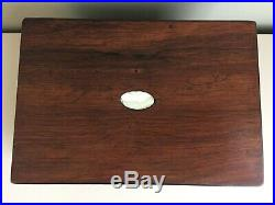 Antique Figured Wooden Jewellery Box Mother of Pearl Inlay MOP Victorian 25cm b5