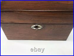 Antique Fitted Vanity Jewellery Box Ladies Wooden Travel Box Sewing Bix