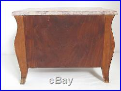 Antique French Bombe Miniature Chest of Drawers Jewelry Box 19th c