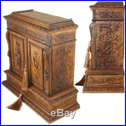 Antique French Hand Carved Wood 15 Tall Table Cabinet Jewelry Box Multi Drawers