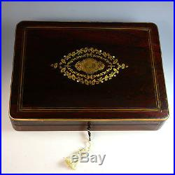 Antique French Napoleon III Game Jewelry Box with Key