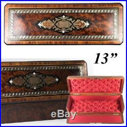 Antique French Napoleon III Marquetry 12.75 Jewelry or Gloves Box, Burled