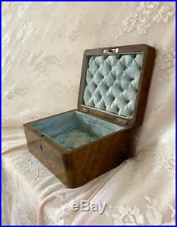 Antique French Victorian Napoleon III Wooden Trinket Jewelry Sewing Box Tufted