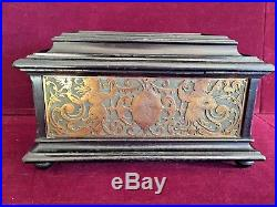Antique German Wood & Brass Jewelry Box Dated 1881 Cherubs and Figures with Key