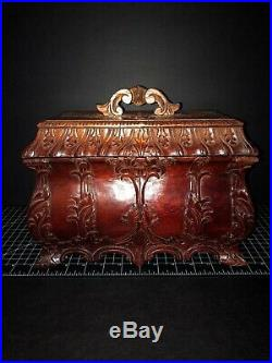 Antique Hand Carved Wooden Box Red Wood Asian Jewelry Box 12x6x9
