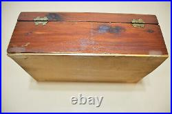 Antique Hand Carved Wooden Jewelry Box Western Scene Covered Wagons & Cowboys