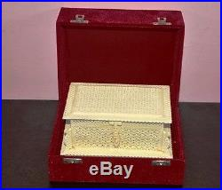Antique Handmade Bone Carved Floral Motif Jewelry box with Gift Wooden Box