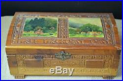 Antique Handmade Wooden Jewelry Box with inlaid artwork incredible exceptional