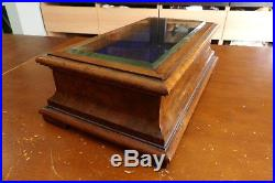 Antique Hinged Wooden Jewelry or Display Box with Beveled Glass Lid