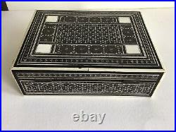 Antique Indian Vizagapatam Micro Mosaic Inlay Wooden Box c 1870's Jewellery