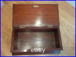 Antique Inlaid Mahogany Wood Wooden Writing Letter Jewellery Box Casket