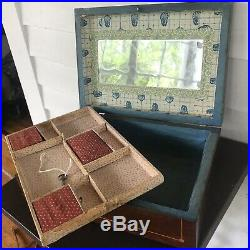 Antique Inlaid Panel Wooden Sewing Box Paper lined Mirror Victorian Wood Jewelry