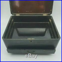Antique Japanese Black Lacquered Wooden Sewing Jewellery Box Swallow Design