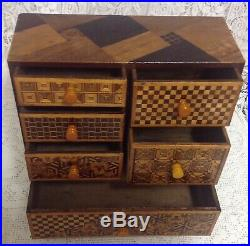Antique Japanese Wooden Jewellery Box All Hand Worked Parquetry, Miniature Chest