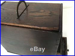 Antique Japanese Wooden Jewelry Trinket Box withHandle, 9 1/2 D x 5 W x 10 Tall