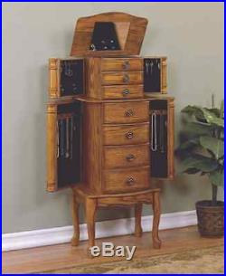 Antique Jewelry Armoire Vintage Tall Freestanding Storage Drawers Mirror Holder