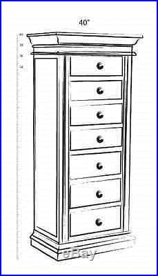 Antique Jewelry Armoire With Mirror Tall Wooden Silver Vintage Chest 40