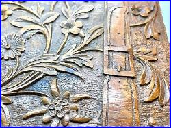 Antique Large German/Swiss Black Forest Edelweiss Carved Wooden Jewellery Box