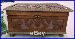 Antique Large Hand-carved Wooden Jewelry Box