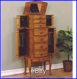 Antique Look Jewelry Armoire Vintage Tall Free Stand Storage Mirror Holder Oak