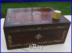 Antique Mother of Pearl MOP Inlaid Rosewood Wooden Jewellery / Sewing Work Box