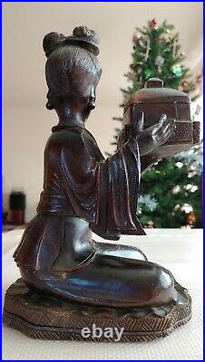 Antique Nanmu Wooden Hand Carved Statue Figurine Girl Jewelry Ring Box Decor