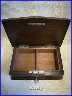 Antique Oak Wooden Jewellery Box With Lock And Key